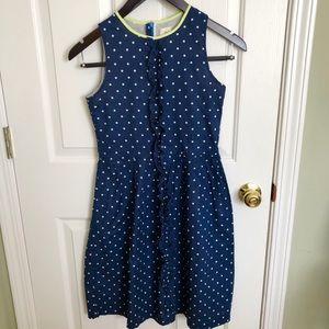 Blue Polka Dot Ruffle Dress   Lands' End   12